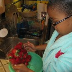 Preparing to wash the strawberries