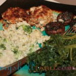 Kale, salmon croquettes (without egg), broccoli quinoa casserole, stuffed mushrooms