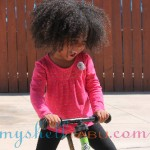 Fuss has a new bike, but the tire is flat. She seemed happy on her old Strider Balance Bike, though